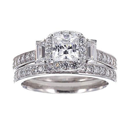 DiamonArt Cubic Zirconia Sterling Silver 3-Stone Bridal Ring Set, 6 , No Color Family