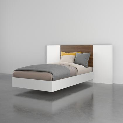 402619 Octane 3 Piece Twin Size Bedroom Set with Platform Bed + Headboard + Panel (2 per Box)  in Walnut Laminate And White