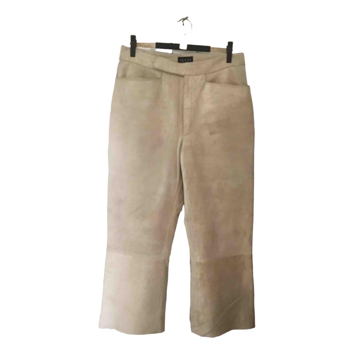 Gucci - Pantalon   pour femme en suede - beige