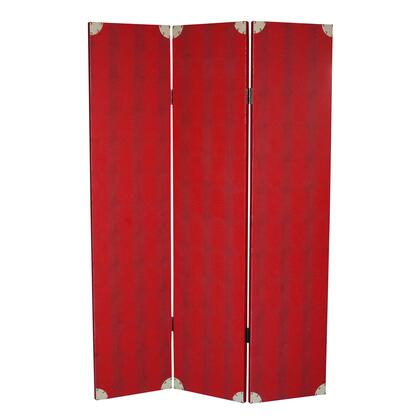 BM26603 Transitional 3 Panel Wooden Screen with Nailhead Trim