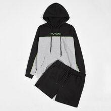 Zweifarbige Hoodie mit Buchstaben Grafik und Taschen Flicken & Track Shorts Set