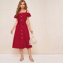 Kleid mit Punkten Muster, Knopfen vorn, Schosschen Saum und Guertel