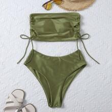 Textured Drawstring Side Bandeau Bikini Swimsuit