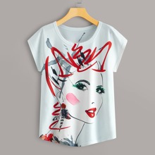 Grosse Grossen - T-Shirt mit Figur Muster und rundem Kragen