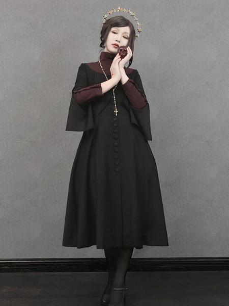 Milanoo Gothic Lolita OP Dress Nun Sister Flament Long Sleeve Lolita One Piece Dress