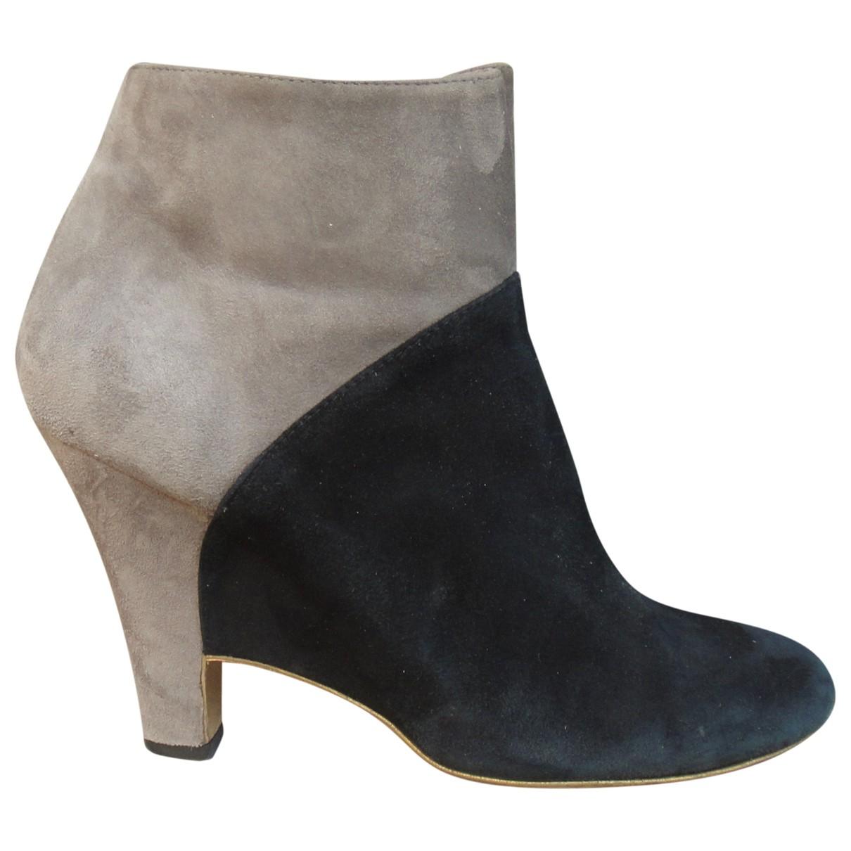 Salvatore Ferragamo \N Black Suede Ankle boots for Women 9 US