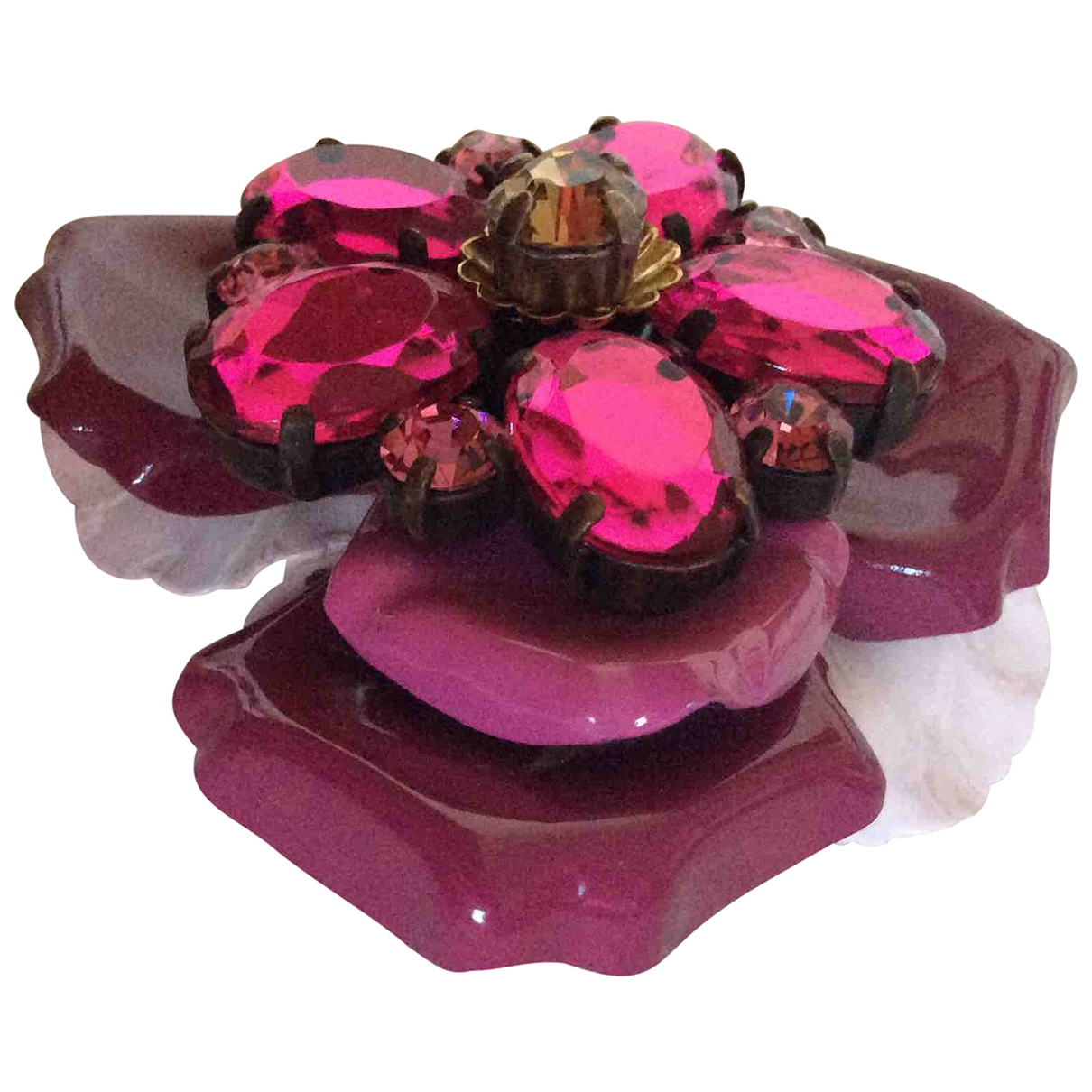 Broche Motifs Floraux en Plastico Rosa Non Signe / Unsigned