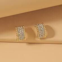 Rhinestone Inlaid Hoop Earrings