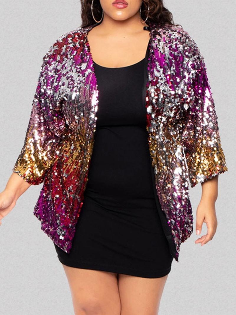 Ericdress Plus Size Loose Three-Quarter Sleeve Mid-Length Women's Jacket