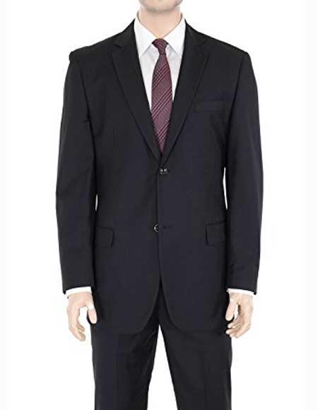 Men's Two Button Single Notch Lapel Solid Black Suit Regular Fit