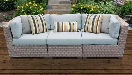 Florence Collection FLORENCE-03c-SPA 3-Piece Patio Sofa with 2 Corner Chairs and 1 Armless Chair - Grey and Spa