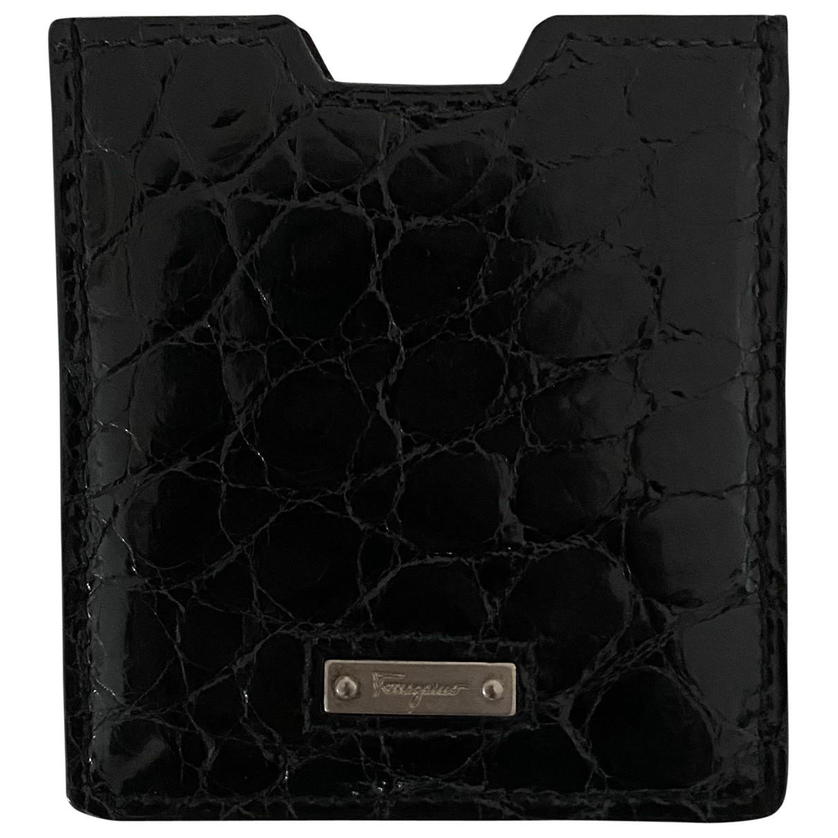 Salvatore Ferragamo \N Black Crocodile Small bag, wallet & cases for Men \N