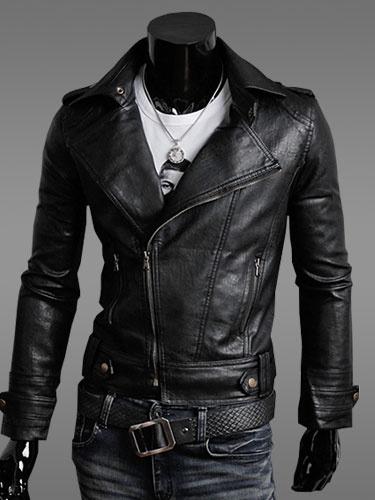 Milanoo Black Leather Jacket Men Jacket Turndown Collar Long Sleeves Motorcycle Jacket