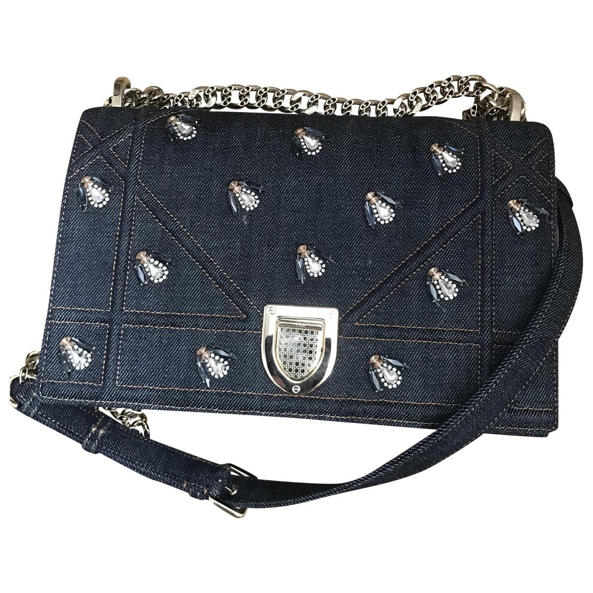 Dior Diorama Handtasche in  Blau Leinen