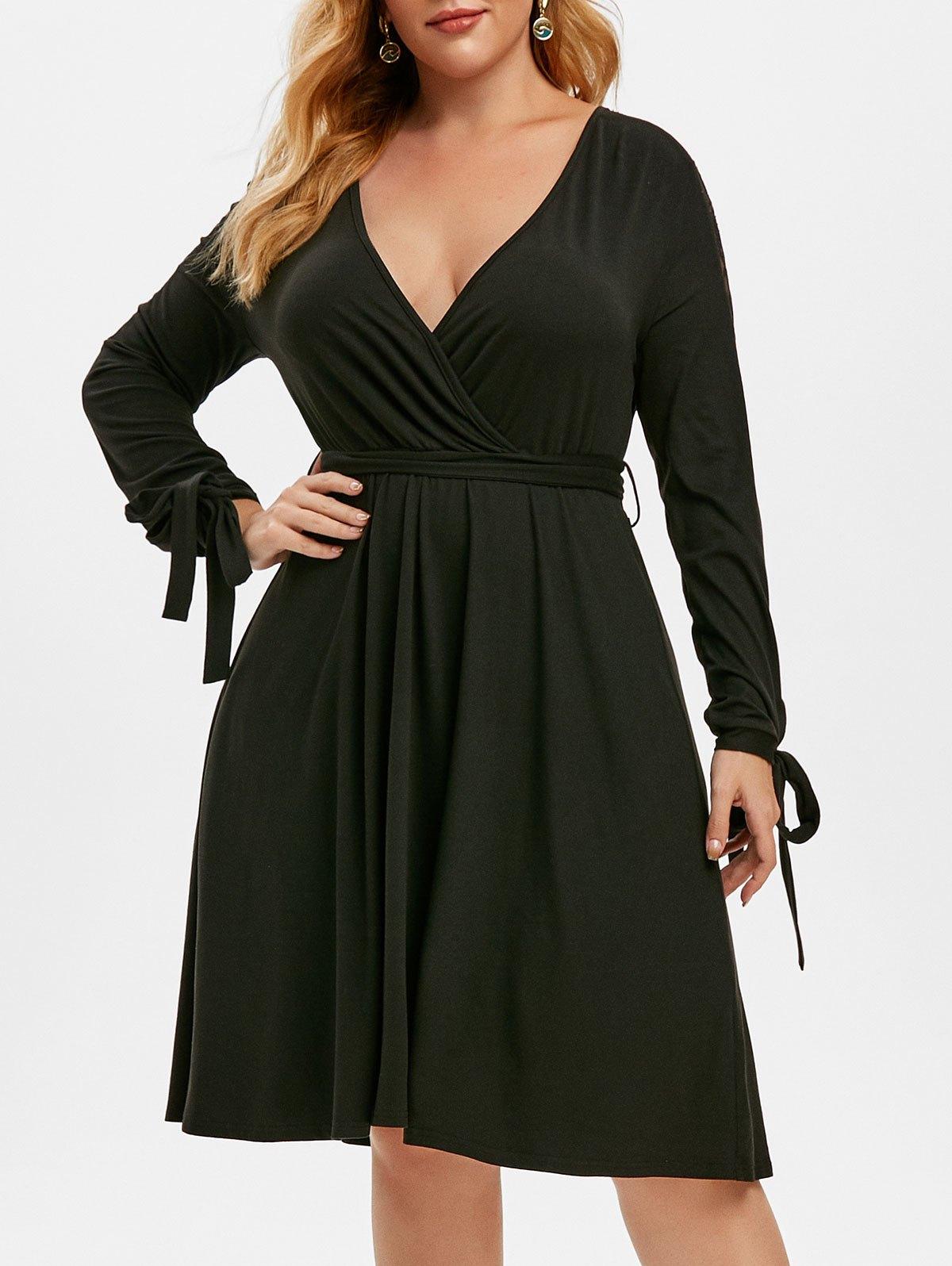 Plus Size Plunge Lace Panel Tie Sleeve Dress