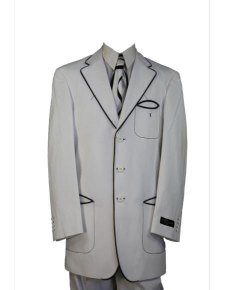 Mens black accent high fashion denim 3pc zoot suit