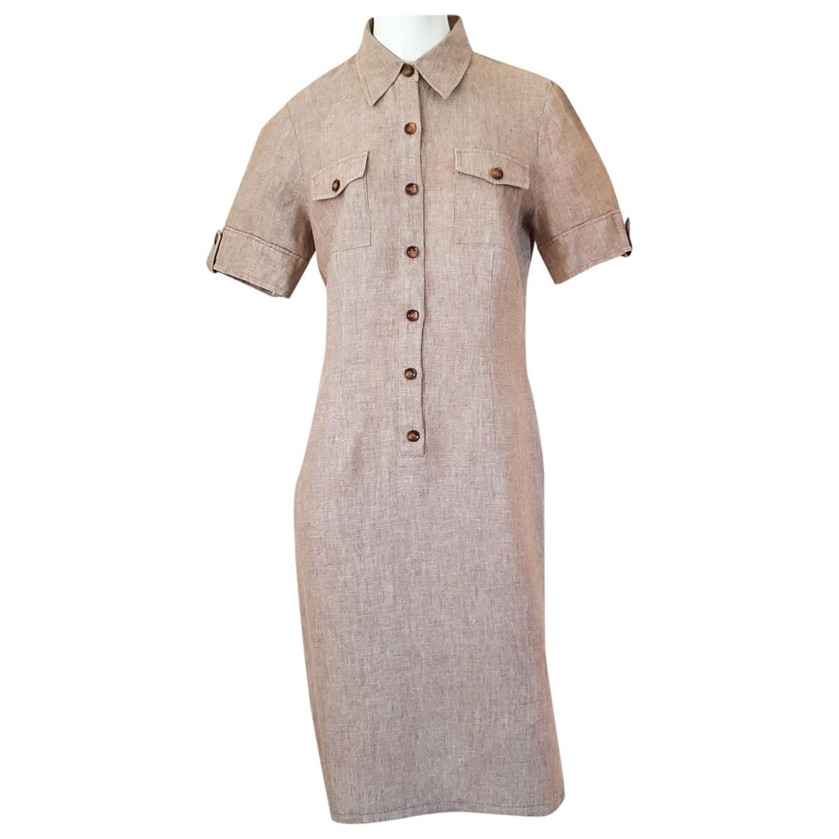 Elegance Paris - Robe   pour femme en lin - beige