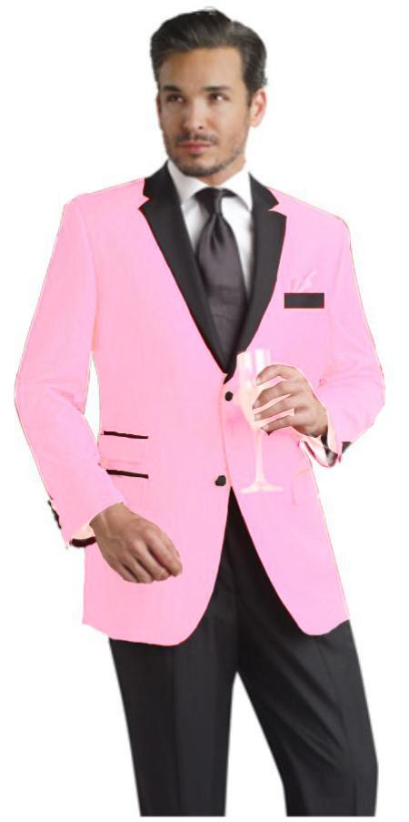 Pink Two Button Notch Party Suit and Tuxedo and Blazer w Black Lapel