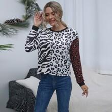 Samt T-Shirt mit Zebra Streifen