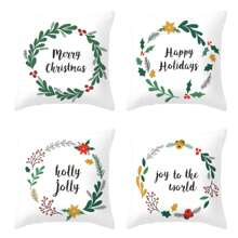 Christmas Letter & Wreath Print Cushion Cover