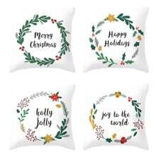 Christmas Letter & Wreath Print Cushion Cover