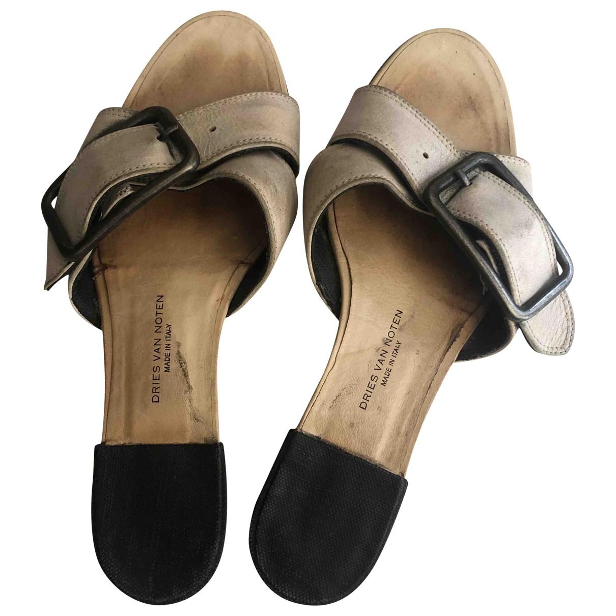 Dries Van Noten \N Beige Leather Sandals for Women 42 EU