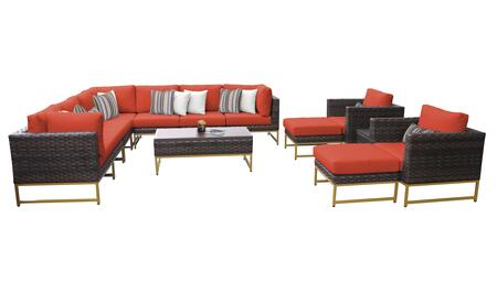Barcelona BARCELONA-13a-GLD-TANGERINE 13-Piece Patio Set 13a with 3 Corner Chairs  2 Club Chairs  4 Armless Chairs  1 Coffee Table  2 Ottomans and 1