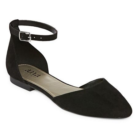 a.n.a Womens Darell Buckle Closed Toe Ballet Flats, 8 Medium, Black
