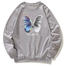 Sudadera con estampado de mariposa y letra