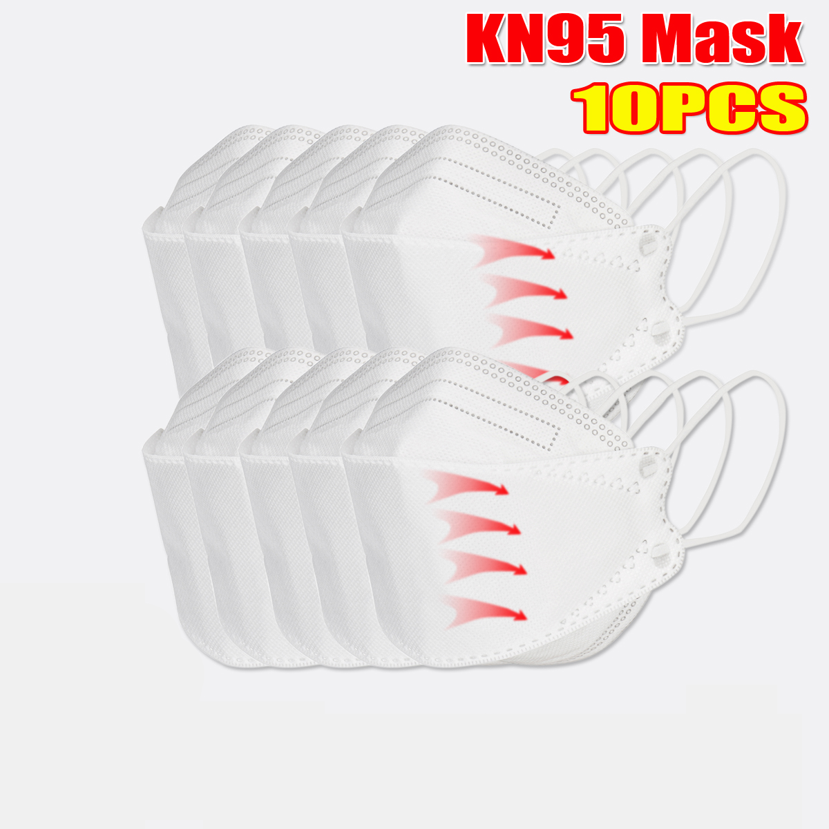 10 Pcs / Pack of KN95 MasksCE Certification Passed The GB-2626-KN95 Test PM2.5 Filter Mask