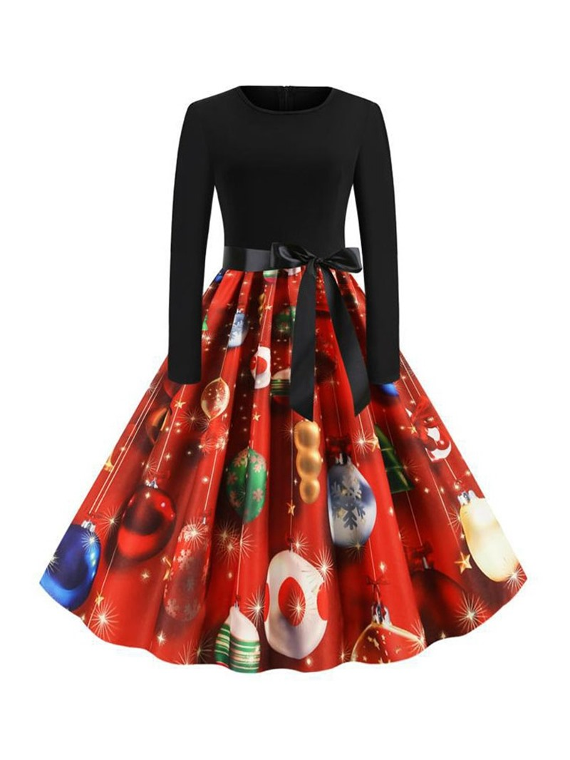 Ericdress Christmas Pattern Round Neck Long Sleeve Print Pullover Sweet Dress
