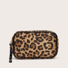 1pc Leopard Print Makeup Bag