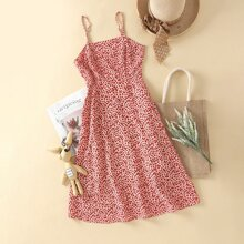 Vestido de tirantes midi floral de margarita
