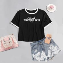 Plus Floral & Butterfly Print Ringer Tee