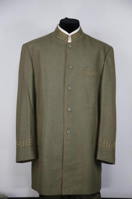 Mens Mandarin Collar Brass Dark Green Zoot Suit