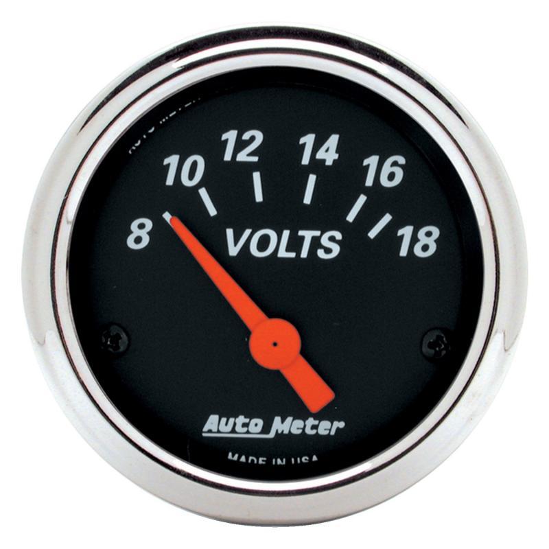AutoMeter GAUGE; VOLTMETER; 2 1/16in.; 18V; ELEC; DESIGNER BLACK