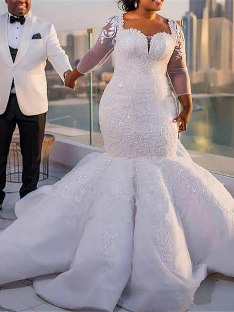 Ericdress Appliques Long Sleeves Plus Size Wedding Dress