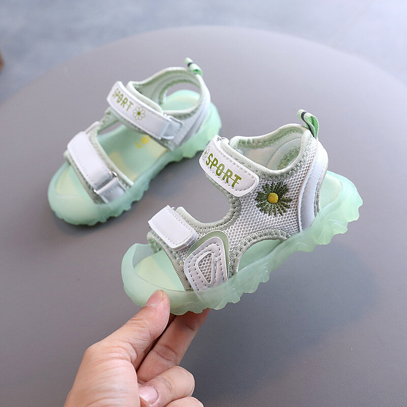Girls Daisy Decor Anti-kick Toe Jelly Sole Non Slip Sports Sandals