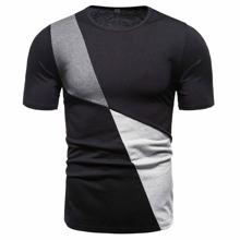 T-Shirt mit Farbblock und rundem Kragen