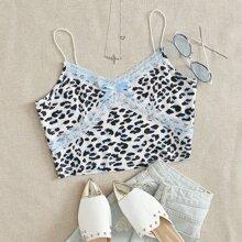 Lace Panel Leopard Print Crop Cami Top