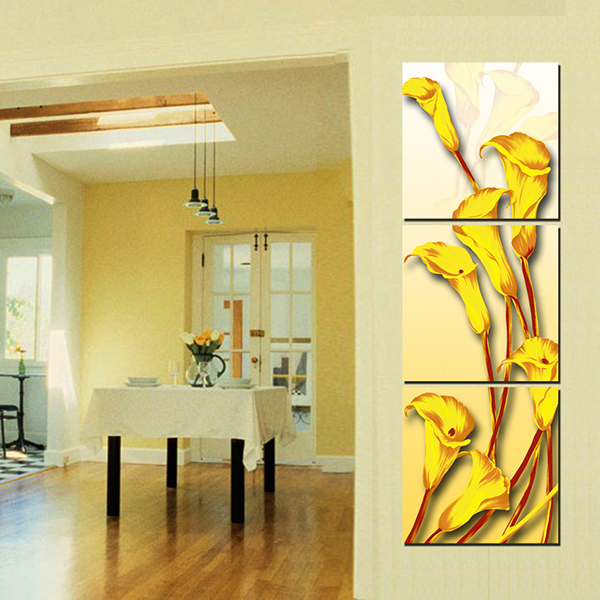 16×16in×3 Panels Golden Calla Hanging Canvas Waterproof and Eco-friendly Framed Prints