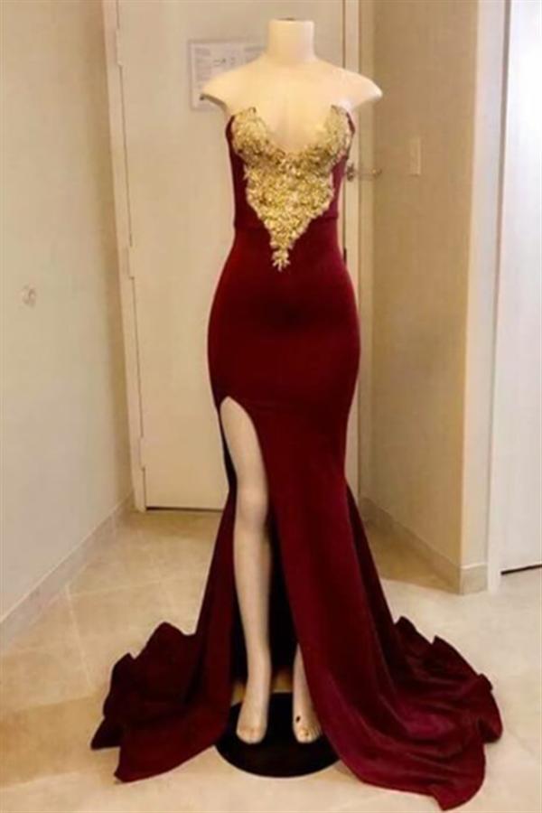Dames de bal sexy sirene cherie avec split haut   Velvet Gold Appliques robes de soiree a fente laterale