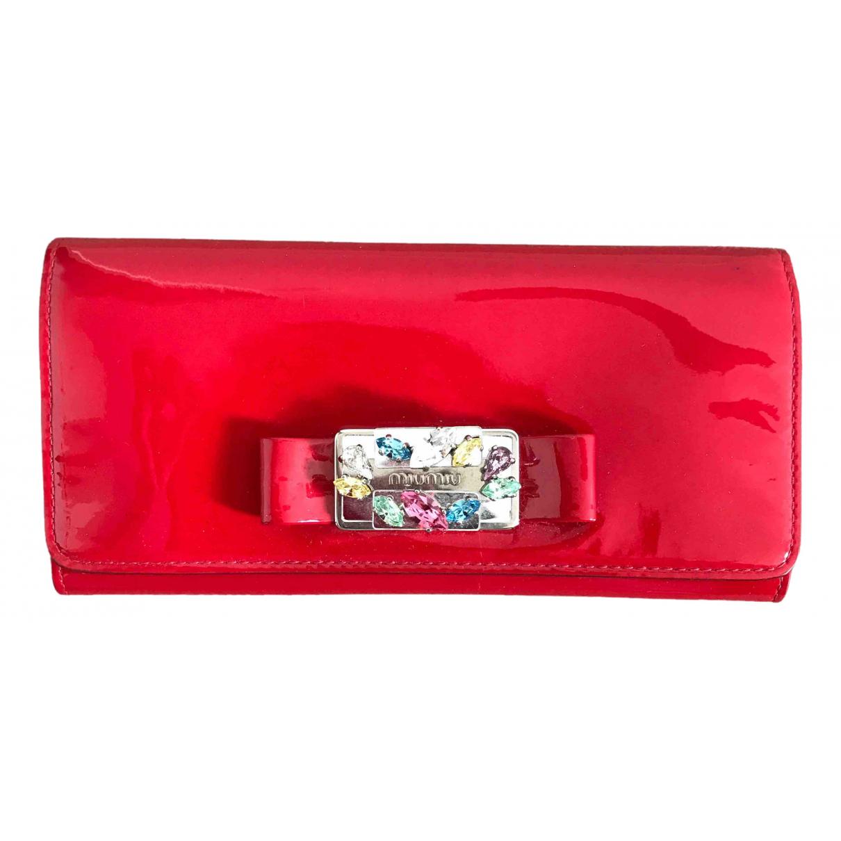 Miu Miu - Portefeuille   pour femme en cuir verni - rouge