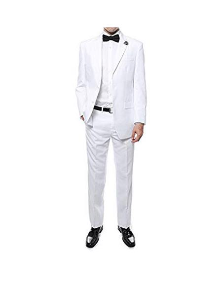 Mens Two Button White Suit