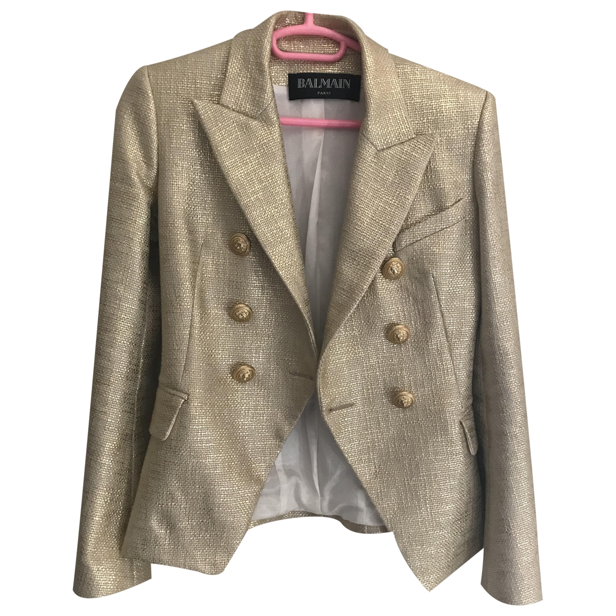 Balmain \N Gold Cotton jacket for Women 36 FR
