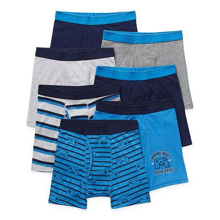 Arizona Little & Big Boys 7 Pack Boxer Briefs, Small , Blue
