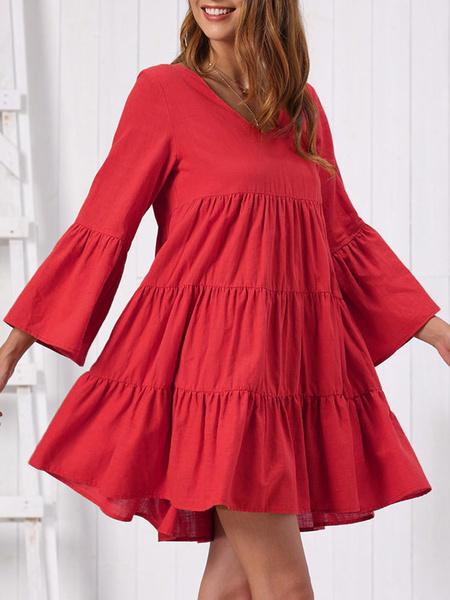 Milanoo Shift Dress Red Classic Ruffles Long Sleeves V Neck Oversized Burgundy Casual Dress