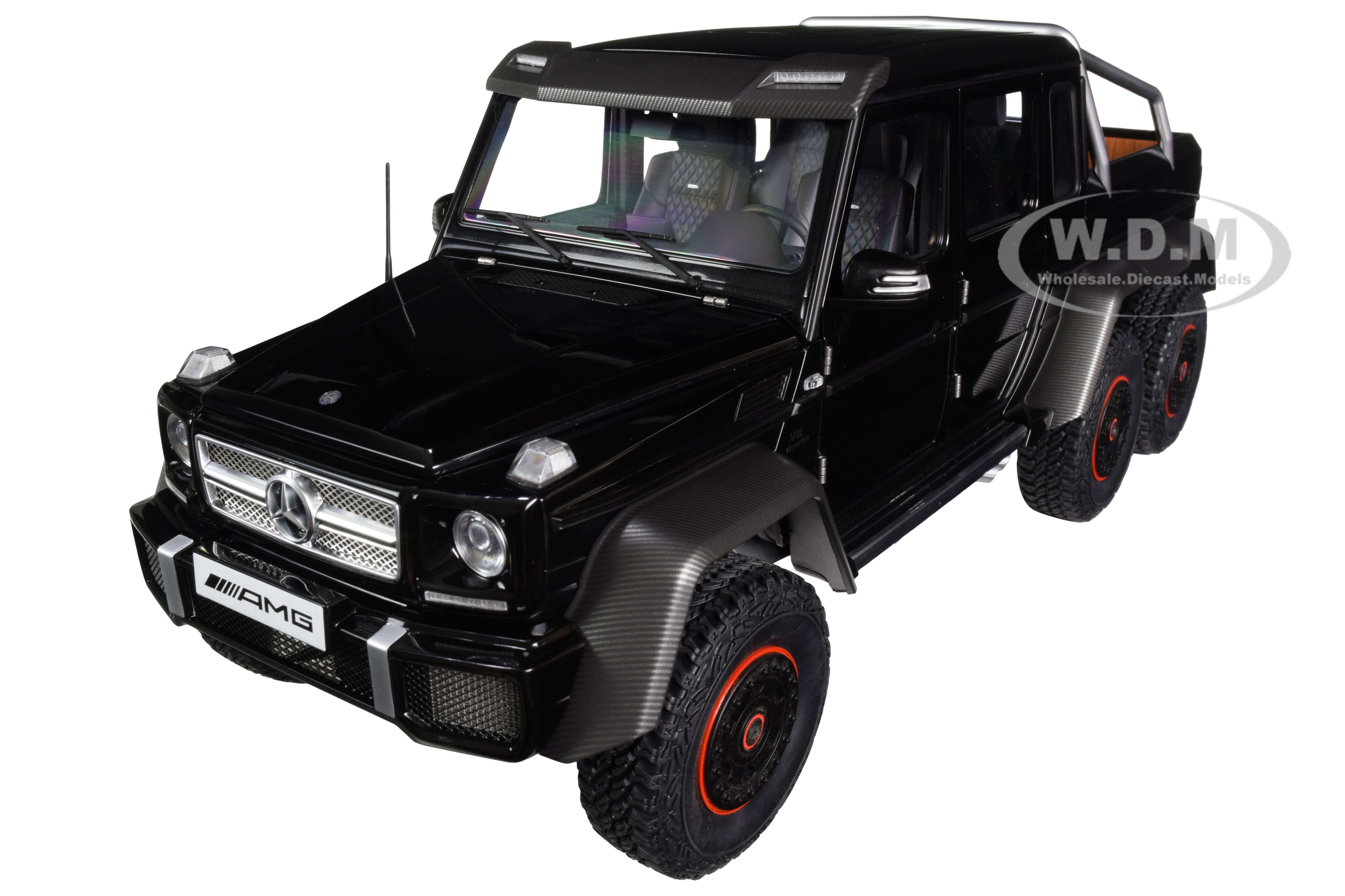 Mercedes Benz G63 AMG 6x6 Gloss Black with Carbon Accents 1/18 Model Car by Autoart