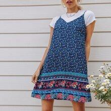 Ditsy Floral and Paisley Print Slip Dress