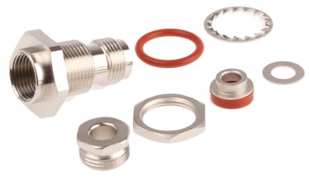 Radiall Straight 50Ω Panel Mount Coaxial Connector, jack, Nickel, RG141, RG142, RG223, RG400, RG58